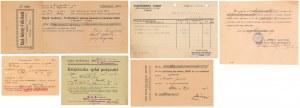 Dokumenty różne związane z płatnościami rat, weksli itp. (6szt)