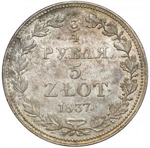 3/4 rubla = 5 złotych 1837 MW, Warszawa - bardzo ładne
