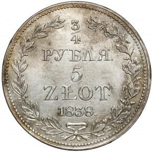 3/4 rubla = 5 złotych 1838 MW, Warszawa