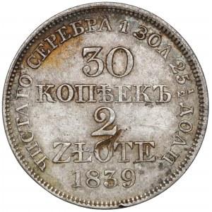 30 kopiejek = 2 złote 1839 MW, Warszawa
