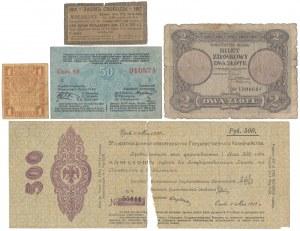Zestaw banknotów Polska - Rosja w tym 2 zł 1925 (5szt)