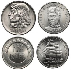 PRL - zestaw 4 szt. menniczych monet, w tym Kościuszko 1966