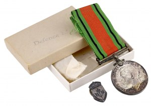 Kanada, medal za obronność 1939-1945 i przypinka General Service - oryginalne pudełko