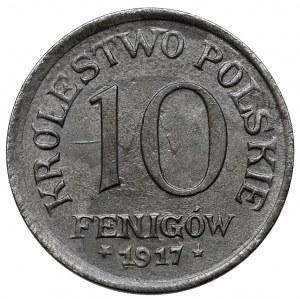 Królestwo Polskie, 10 fenigów 1917 - piękny