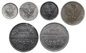 -Ost. i Królestwo Polskie, zestaw monet (6szt)