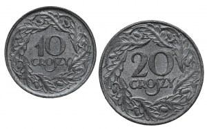Generalna Gubernia, 10 i 20 groszy 1923 - piękne (2szt)