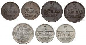 Gdańsk, 1 fenig - 1/2 guldena 1923-1937 (7szt)