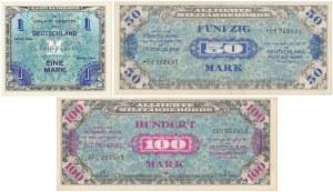 Germany, Allied Occupation WWII, 1, 50 & 100 Mark 1944 (3pcs)