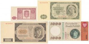 Zestaw banknotów polskich z lat 1946-1965 (4szt)