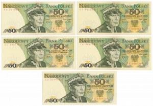 50 złotych 1979 - MIX serii (5szt)