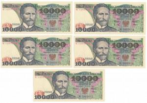 10.000 złotych 1988 - W (5szt)