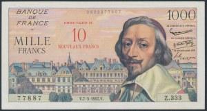 France, 10 Nouveaux Francs on 1.000 Francs 1957