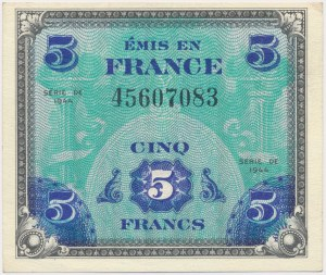 France, Allied Occupation WWII, 5 Francs 1944