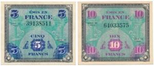 France, Allied Occupation WWII, 5 & 10 Francs 1944 (2pcs)
