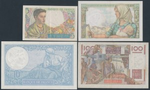 France - lot of 4 banknotes 1939-1952