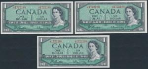 Canada, 1 Dollar 1954 (3pcs)