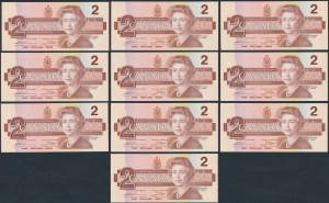 Kanada, 2 Dollars 1986 - kolejne numery (10szt)