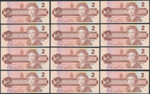 Kanada, 2 Dollars 1986 - kolejne numery (12szt)