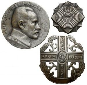 II RP / PRL - odznaki i kopia medalu (3szt)