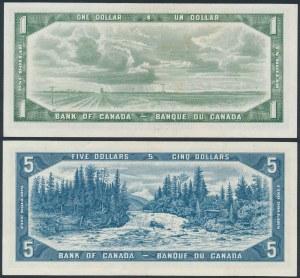 Canada, 1 & 5 Dollars 1954 (2pcs)