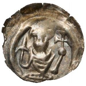 Henryk I Brodaty / II Pobożny, Brakteat ratajski - popiersie z lilją i jabłkiem