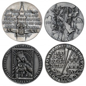 Tematyka historii Polski - Konstytucja i II Wojna, zestaw medali (4szt)