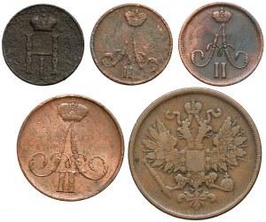 Od dienieżki do 2 kopiejek 1850-1862 BM, Warszawa (5szt)