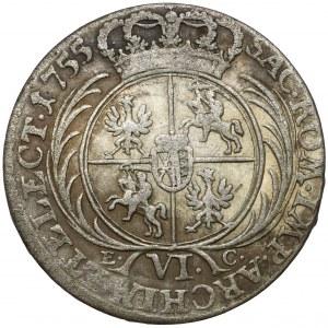 August III Sas, Szóstak Lipsk 1755 EC - szerokie