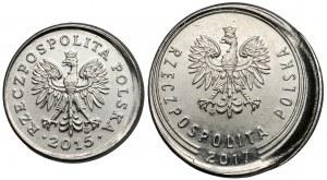 Destrukt 20 groszy 2015 i 1 złoty 2017 - niecentryczne bicie (2szt)