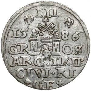 Stefan Batory, Trojak Ryga 1586 - P.D.L.