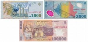 Romania, 1.000, 2.000 i 100.000 Lei 1998-2003 (3pcs)