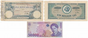 Romania, set of 3 banknotes yers 1946-96