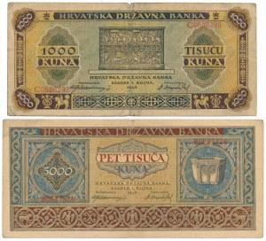 Croatia, 1.000 & 5.000 Kuna 1943 (2pcs)