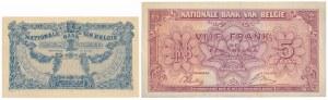 Belgia, 1 Franc 1921 i 5 Francs / 1 Belgas 1943 (1944) - zestaw (2szt)