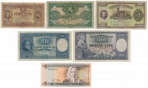 Litwa, zestaw banknotów (6szt)
