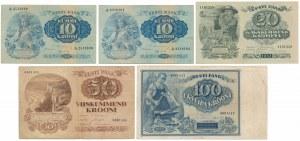 Estonia, zestaw banknotów z lat 1929-37 (5szt)