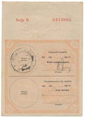 Asygnata Ministerstwa Skarbu (1939) - 50 zł