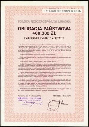 Obligacja Państwowa 400.000 zł 1989