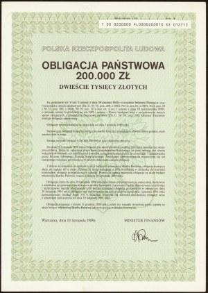 Obligacja Państwowa 200.000 zł 1989
