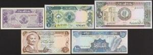 Jordan, Liban & Sudan - banknotes lot (5pcs)