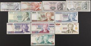 Turkey - lot of 11 banknotes from 5 Lira to 20 mln Lira 1970