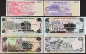 Nikaragua, zestaw banknotów (6szt)