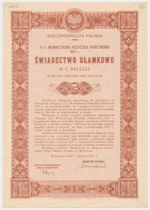 4.5% Poż. Wewnętrzna 1937, Świadectwo ułamkowe 5 zł - seria C