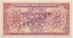 Belgia, 5 Francs-1 Belgas 1943 (1944) - SPECIMEN