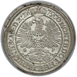 Śląsk, Sylwiusz Fryderyk, 15 krajcarów Oleśnica 1675 SP - piękny