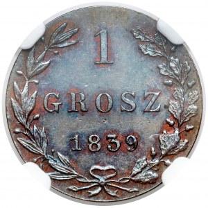 1 grosz 1839 MW - nowe bicie, Warszawa - piękny