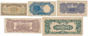 Chiny, Okupacja Japońska - zestaw banknotów (5szt)