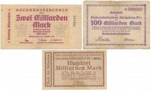 Konigsberg i.Pr.(Królewiec), 2 mld i 2x 100 mld mk 1923 (3szt)