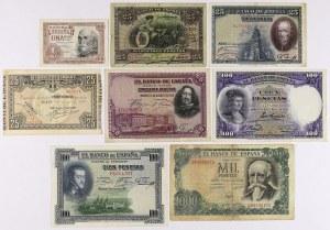 Hiszpania, zestaw banknotów 1907-71 (8szt)