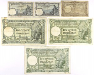 Belgium - lot of 6 old and large banknotes 1928-1939